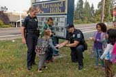 Police talk with kids at school