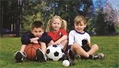 Kids with sports balls