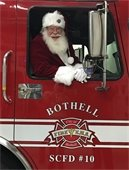 Santa in a fire engine