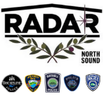 North Sound Radar Logo and Five Police patches, Including that of Bothell Police