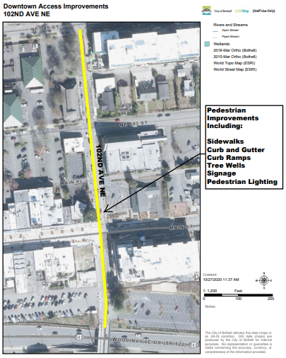102nd Ave NE Downtown Access Improvement Map