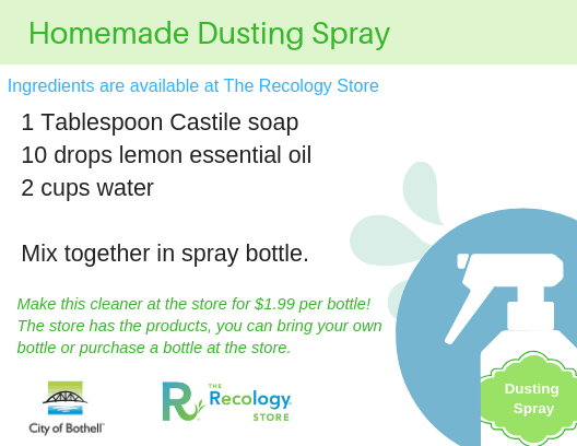 Dusting spray recipe card