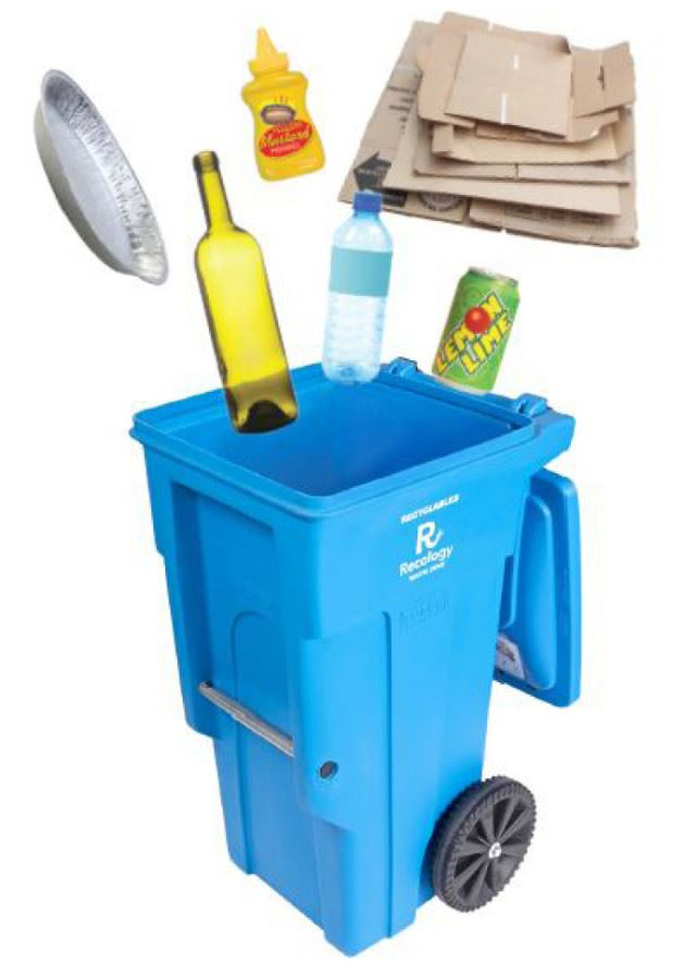 Image of Blue Recycling Cart with recycling items going in