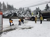 Operations crew members help dig out an ambulance, February 2019