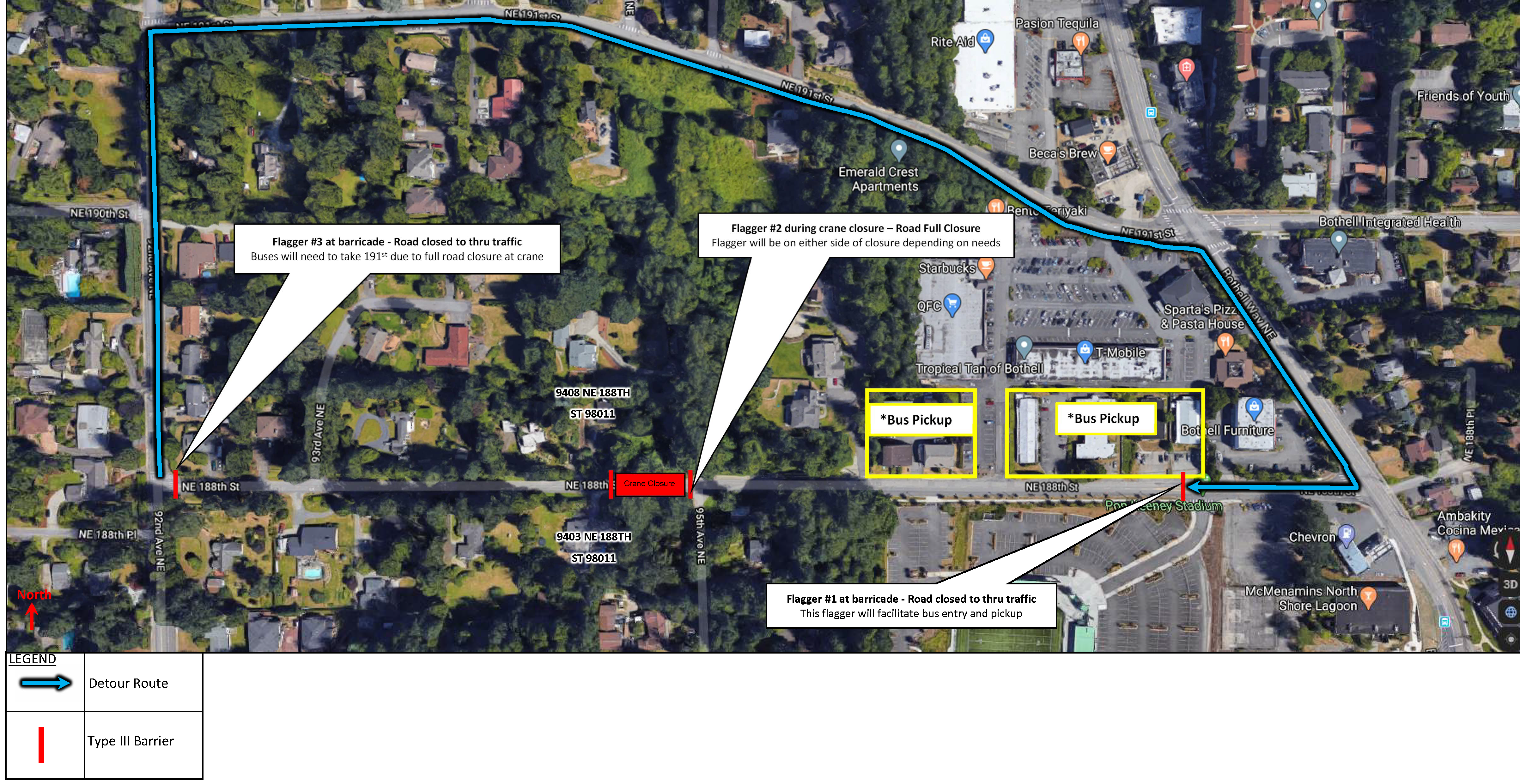 NE 188th St Detour Map