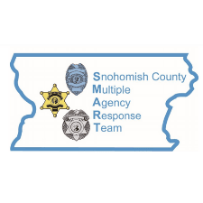 logo for Snohomish County Multiple Agency Response Team and geographic outline of county