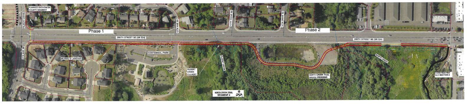 Proposed alignment for North Creek Trail Section 4, aerial view (JPG)