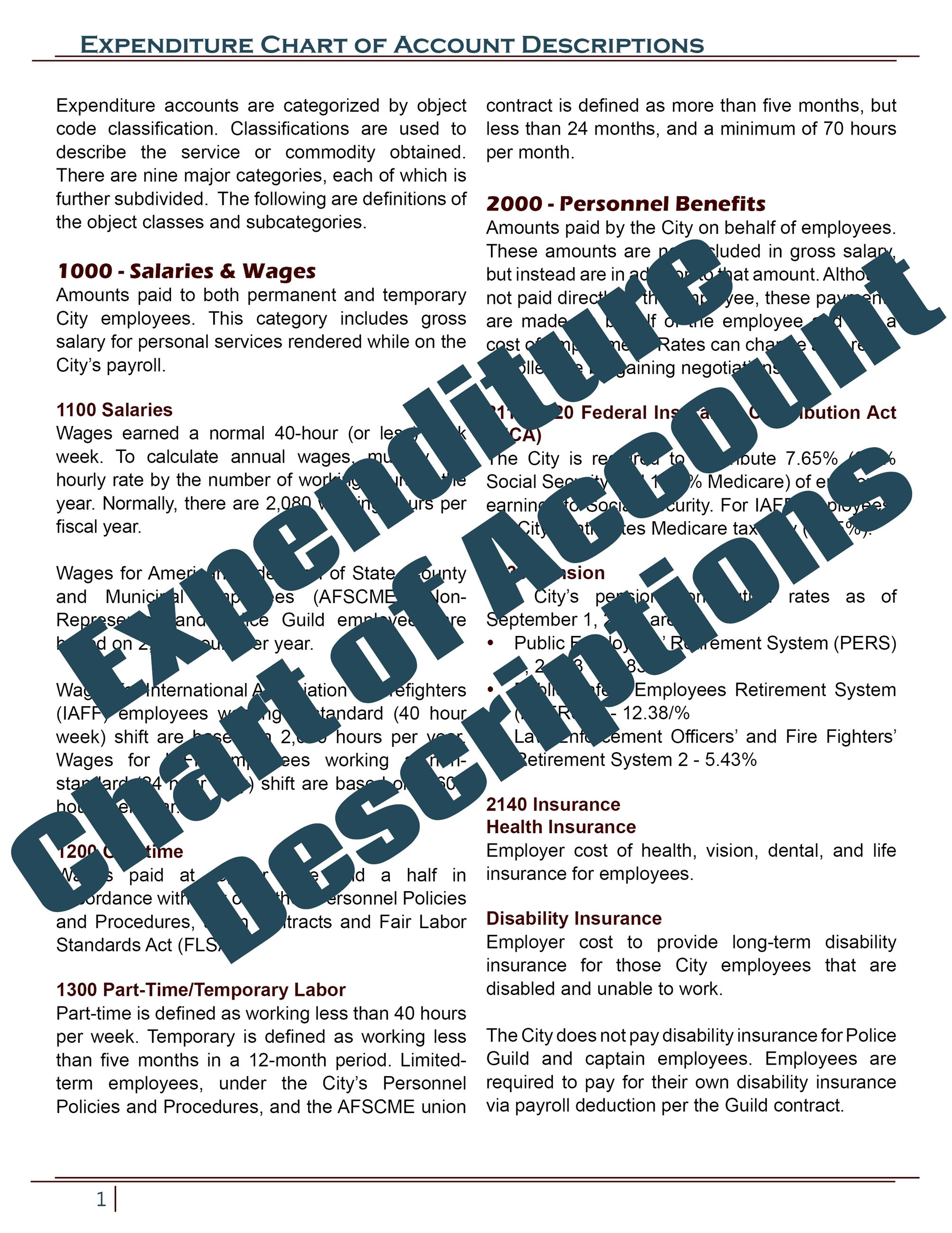 Chart of Account Descriptions
