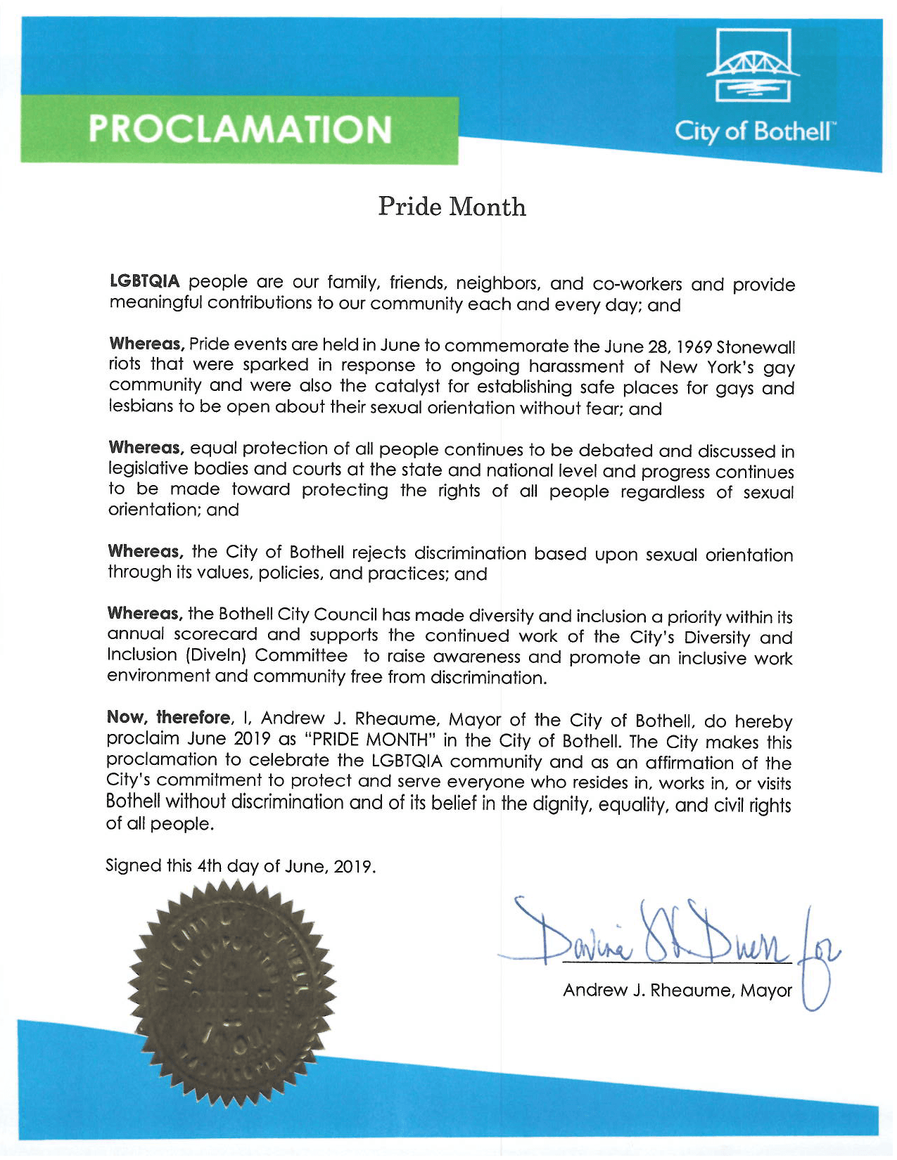Image of Pride Month Proclamation