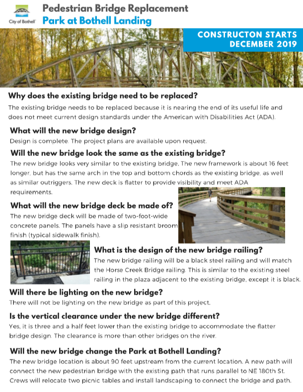 Images and text providing questions and answers for bridge project
